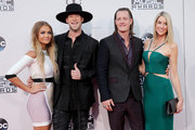 (L-R) Brittney Marie Cole, recording artists Brian Kelley and Tyler Hubbard of Florida Georgia Line, and Hayley Stommel attend the 2015 American Music Awards at Microsoft Theater on November 22, 2015 in Los Angeles, California.