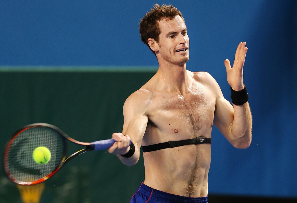 Andy murray sexy shirtless practice in indian wells