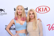 Musician Iggy Azalea and musician Britney Spears attend the 2015 Billboard Music Awards at MGM Grand Garden Arena on May 17, 2015 in Las Vegas, Nevada.