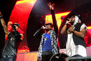 (L-R) Recording artists Taboo, apl.de.ap and will.i.am of The Black Eyed Peas perform onstage with David Guetta during day 3 of the 2015 Coachella Valley Music & Arts Festival (Weekend 1) at the Empire Polo Club on April 12, 2015 in Indio, California.
