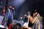 (L-R) Recording artists apl.de.ap, will.i.am and Fergie of The Black Eyed Peas perform onstage with David Guetta during day 3 of the 2015 Coachella Valley Music & Arts Festival (Weekend 1) at the Empire Polo Club on April 12, 2015 in Indio, California.