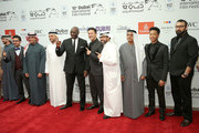 "(from fifth left) Actor Adewale Akinnuoye-Agbaje, producer RedOne, director Ayman Jamal, DIFF Chairman Abdulhamid Juma, actor Jacob Latimore and director Khurram Alavi attend the ""Bilal"" premiere during day two of the 12th annual Dubai International Film Festival held at the Madinat Jumeriah Complex on December 10, 2015 in Dubai, United Arab Emirates."