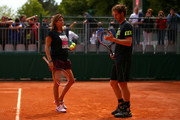 Andy Murray of Great Britain speaks with his coach Amelie Mauresmo during a practice session on day six of the 2015 French Open at Roland Garros on May 29, 2015 in Paris, France.