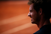 Andy Murray of Great Britain looks on during a practice session on day six of the 2015 French Open at Roland Garros on May 29, 2015 in Paris, France.