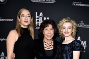 "(L-R) Actresses Judy Greer, Lily Tomlin and Julia Garner arrive at the Los Angeles Film Festival opening night premiere of Sony Pictures Classics' ""Grandma"" at the Regal Cinemas L.A. Live on June 10, 2015 in Los Angeles, California."