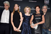 "(L-R)  Actor Sam Elliott, actresses Judy Greer, Julia Garner, Lily Tomlin, Marcia Gay Harden and director Paul Weitz arrive at the Los Angeles Film Festival opening night premiere of Sony Pictures Classics' ""Grandma"" at the Regal Cinemas L.A. Live on June 10, 2015 in Los Angeles, California."