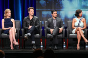 (L-R) Actors Laura Regan, Nick Zano, Wilmer Valderrama and Meagan Good speak onstage during the 'Minority Report' panel discussion at the FOX portion of the 2015 Summer TCA Tour at The Beverly Hilton Hotel on August 6, 2015 in Beverly Hills, California.