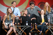 (Back row L-R) Executive producers Greg Berlanti, Andrew Kreisberg and Sarah Schechter (Front row L-R) Actors Melissa Benoist, Calista Flockhart, Chyler Leigh and David Harewood speak onstage during the 'Supergirl' panel discussion at the CBS portion of the 2015 Summer TCA Tour at The Beverly Hilton Hotel on August 10, 2015 in Beverly Hills, California.