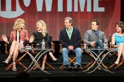 (L-R) Actors Caitlin FitzGerald, Annaleigh Ashford, Beau Bridges. Josh Charles and creator/executive producer Michelle Ashford speak onstage during the 'Masters of Sex' panel discussion at the Showtime portion of the 2015 Summer TCA Tour at The Beverly Hilton Hotel on August 11, 2015 in Beverly Hills, California.