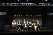 "(Back L-R) Trish Aelker, Maria Croyle, Brian Kennedy, Laura Deming, Aaron Mandell and Dr. Sandra Postel (Front L-R) Director Brett Ratner, executive producer Kurt Sayenga and director Angela Bassett speak onstage during the ""Breakthrough"" panel discussion at the National Geographic Channel portion of the 2015 Summer TCA Tour at The Beverly Hilton Hotel on July 29, 2015 in Beverly Hills, California."
