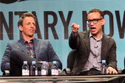 (L-R) Executive producer/actors Seth Meyers and Fred Armisen speak onstage during the 'Documentary Now!' panel discussion at the AMC/IFC Networks portion of the 2015 Summer TCA Tour at The Beverly Hilton Hotel on July 31, 2015 in Beverly Hills, California.