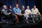 (L-R) Executive producer Mark Samels, Associate professor, Department of Art, University of Virginia Carmenita Higginbotham, producer Don Hahn, director/producer Sarah Colt, historian/author Neal Gabler and composer Richard Sherman speak onstage during the 'American Experience: Walt Disney' panel discussion at the PBS portion of the 2015 Summer TCA Tour at The Beverly Hilton Hotel on August 2, 2015 in Beverly Hills, California.