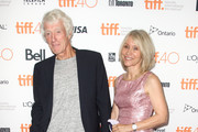 """Director of photography Roger Deakins and Isabella James Purefoy Ellis attend the """"Sicario"""" premiere during the 2015 Toronto International Film Festival at Princess of Wales Theatre on September 11, 2015 in Toronto, Canada."""