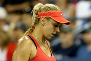 Sabine Lisicki of Germany celebrates against Barbora Strycova of Czech Republic during their Women's Singles Third Round match on Day Six of the 2015 US Open at the USTA Billie Jean King National Tennis Center on September 5, 2015 in the Flushing neighborhood of the Queens borough of New York City.