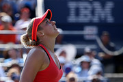 Sabine Lisicki of Germany react against  Simona Halep of Romania during their Women's Singles Fourth Round match on Day Eight of the 2015 US Open at the USTA Billie Jean King National Tennis Center on September 7, 2015 in the Flushing neighborhood of the Queens borough of New York City.