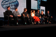 (L-R) Mentor Scott Borchetta, host Ryan Seacrest, musician/judge Keith Urban, singer/actress/judge ..Jennifer Lopez, musician/actor/judge Harry Connick, Jr. and executive producers Trish Kinane and Per Blankens speak onstage during the 'American Idol' panel discussion at the FOX portion of the 2015 Winter TCA Tour at the Langham Hotel on January 17, 2015 in Pasadena, California.