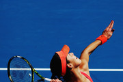Ana Ivanovic of Serbia serves during her first round doubles match with Kirsten Flipkens of Belgium against Andrea Hlavackova and Lucie Hradecka of Czech Republic during day one of the 2016 ASB Classic at the ASB Tennis Arena on January 4, 2016 in Auckland, New Zealand.