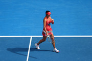 Ana Ivanovic of Serbia celebrates in her first round match against Tammi Patterson of Australia during day two of the 2016 Australian Open at Melbourne Park on January 19, 2016 in Melbourne, Australia.