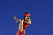 Ana Ivanovic of Serbia plays a backhand in her second round match against Anastasija Sevastova of Latvia during day four of the 2016 Australian Open at Melbourne Park on January 21, 2016 in Melbourne, Australia.