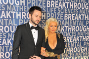 Guitarist Matthew Rutler (L) and singer/songwriter Christina Aguilera attend the 2016 Breakthrough Prize Ceremony on November 8, 2015 in Mountain View, California.