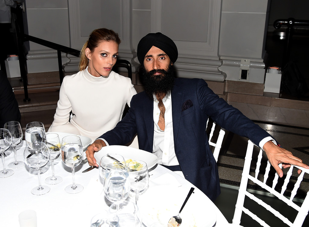Anja Rubik and Waris Ahluwalia at Brooklyn Museum Artists Ball in 2016