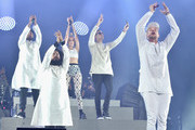 (L-R) Musicians Walshy Fire, Jillionaire, MØ, DJ Snake and Diplo during day 3 of the 2016 Coachella Valley Music And Arts Festival Weekend 1 at the Empire Polo Club on April 17, 2016 in Indio, California.