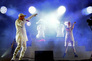 Musicians Diplo,Jillionaire, Walshy Fire of Major Lazer and special guest M?? perform onstage during day 3 of the 2016 Coachella Valley Music & Arts Festival Weekend 2 at the Empire Polo Club on April 24, 2016 in Indio, California.