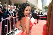 Actress Mishael Morgan walks the red carpet at the 43rd Annual Daytime Emmy Awards at the Westin Bonaventure Hotel on May 1, 2016 in Los Angeles, California.