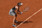 Ana Ivanovic of Serbia awaits a serve during the Ladies Singles third round match against Elina Svitolina of Ukraine on day seven of the 2016 French Open at Roland Garros on May 28, 2016 in Paris, France.