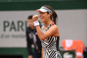 Ana Ivanovic of Serbia reacts during the Women's Singles first round match against Oceane Dodin of France on day three of the 2016 French Open at Roland Garros on May 24, 2016 in Paris, France.