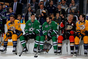 (L-R) Shea Weber #6 of the Nashville Predators, Jamie Benn #14 of the Dallas Stars, Tyler Seguin #91 of the Dallas Stars, Corey Perry #10 of the Anaheim Ducks, and James Neal #18 of the Nashville Predators look on in the DraftKings NHL Accuracy Shooting during the 2016 Honda NHL All-Star Skill Competition at Bridgestone Arena on January 30, 2016 in Nashville, Tennessee.