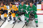 Jamie Benn #14 of the Dallas Stars talks with Tyler Seguin #91 of the Dallas Stars in the DraftKings NHL Accuracy Shooting during the 2016 Honda NHL All-Star Skill Competition at Bridgestone Arena on January 30, 2016 in Nashville, Tennessee.