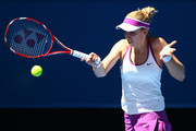 Sabine Lisicki of Germany plays a forehand to Daria Gavrilova of Australia Green during day one of the 2016 Hopman Cup at Perth Arena on January 3, 2016 in Perth, Australia.