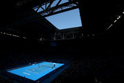 A general view of play during the mixed doubles match between Kenny De Schepper and Caroline Garcia of France and Sabine Lisicki and Alexander Zverev of Germany during day four of the 2016 Hopman Cup at Perth Arena on January 6, 2016 in Perth, Australia.