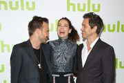 (L-R) Aaron Paul, Michelle Monaghan and Hugh Dancy attend the 2016 Hulu Upftont on May 04, 2016 in New York, New York.