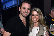 """(EDITORIAL USE ONLY) Charles Esten (L) of ABC's """"Nashville"""" and Patty Hanson pose backstage during the 2016 NHL All-Star Fan Fair - Day 3 on January 30, 2016 in Nashville, Tennessee."""