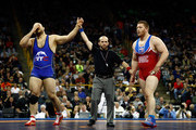 Tervel Dlagnev celebrates after defeating Zach Rey to win their Freestyle 125kg champiosnhip match on day 1 of the Olympic Team Wrestling Trials at Carver-Hawkeye Arena on April 9, 2016 in Iowa City, Iowa.