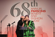 Artist Rob Wynne and honoree Beth Rudin DeWoody speak onstage at the 2016 Parsons Benefit at Chelsea Piers on May 23, 2016 in New York City.
