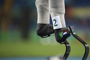 Marie-Amelie le Fur of France (prosthetic leg details) prepares to compete in the Women's 200m - T44 Heat on day 7 of the Rio 2016 Paralympic Games at the Olympic Stadium on September 14, 2016 in Rio de Janeiro, Brazil.