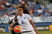 Jill Scott #8 of England and Griedge Mbock Bathy #19 of France collide during a match against  in the 2016 SheBelieves Cup at FAU Stadium on March 9, 2016 in Boca Raton, Florida.