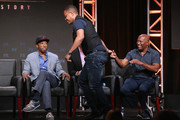 (L-R) Writer Joe Robert Cole, writer D.V. DeVincentis, actor Cuba Gooding Jr. and director John Singleton speak onstage at 'The People v. O.J. Simpson: American Crime Story' panel discussion during the FX portion of the 2016 Television Critics Association Summer Tour at The Beverly Hilton Hotel on August 9, 2016 in Beverly Hills, California.