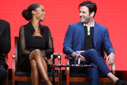 Actors Yaya DaCosta (L) and Colin Donnell speak onstage at the 'Chicago Med' panel discussion during the NBCUniversal portion of the 2016 Television Critics Association Summer Tour at The Beverly Hilton Hotel on August 2, 2016 in Beverly Hills, California.