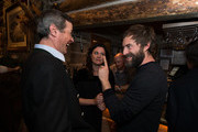 Sun Valley Film Festival Executive Director Teddy Grennan, actress Jennifer Lafleur and actor Mark Duplass attend the Pioneer Award presentation held at Trail Creek Cabin on March 4, 2016 in Sun Valley, Idaho.