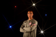 A special effects camera filter was used for this image.) Decathlete Ashton Eaton poses for a portrait at the 2016 Team USA Media Summit at The Beverly Hilton Hotel on March 7, 2016 in Beverly Hills, California.