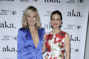 """Malin Akerman (L) and Carla Gugino attend the 2016 Tribeca Film Festival after party for """"The Ticket"""" sponsored by AKA Hotel Residences at Hotel Americano on April 16, 2016 in New York City."""