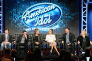 """(L-R) Mentor Scott Borchetta, Host Ryan Seacrest, Judge Keith Urban, Judge Jennifer Lopez, Judge Harry Connick, Jr. and Executive Producer Trish Kinane speak onstage during the """"American Idol"""" panel discussion at the FOX portion of the 2015 Winter TCA Tour at the Langham Huntington Hotel on January 15, 2016 in Pasadena, California"""