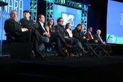 (L-R) Actor John Rhys-Davies, executive producers Al Gough and Miles Millar, actress Poppy Drayton, executive producer Jon Favreau, actress Ivana Baquero, executive producer Jonathan Liebesman, actors Austin Butler and Manu Bennett and executive producer Terry Brooks speak onstage during the MTV - The Shannara Chronicles panel as part of the Viacom portion of This is Cable 2016 Television Critics Association Press Tour at Langham Hotel on January 6, 2016 in Pasadena, California.