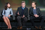 (L-R) Executive Produce/Director Susanne Bier and actors Hugh Laurie and Tom Hiddleston speak onstage during The Night Manager panel as part of the AMC Networks portion of This is Cable 2016 Television Critics Association Winter Tour at Langham Hotel on January 8, 2016 in Pasadena, California.