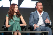 Actors  Clara Paget and Toby Stephens speak onstage during the Black Sails panel as part of the Starz portion of This is Cable 2016 Television Critics Association Winter Tour at Langham Hotel on January 8, 2016 in Pasadena, California.