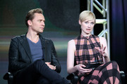 (L-R) Actors Tom Hiddleston and  Elizabeth Debicki speak onstage during The Night Manager panel as part of the AMC Networks portion of This is Cable 2016 Television Critics Association Winter Tour at Langham Hotel on January 8, 2016 in Pasadena, California.